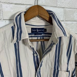 Ralph Lauren white blue denim vintage 90s stripe